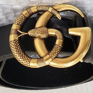 Other - Leather Belt With Double G Buckle With Snake